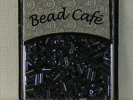 Bead Cafe - Gun Metal Glass Bugle Beads 6mm