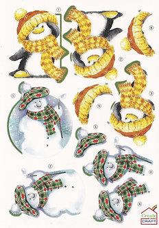 Create & Craft - A4 Christmas Decoupage Sheet Penguin