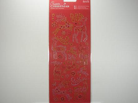 Docrafts - Create Christmas Glitter Dot Stickers Reindeer