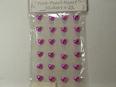 Apac - Pink Pearl Heart Stickers x 24