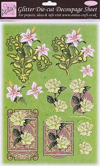 Anita's Glitter Die-Cut Decoupage - Floral 2.
