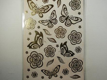 Kanban - Gold & Cream Foiled Flowers & Butterflies