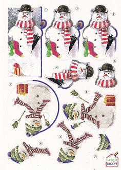 Create & Craft - A4 Christmas Decoupage Sheet Snowman