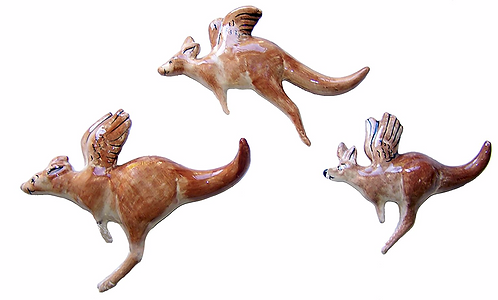 3 Flying Red Kangaroos