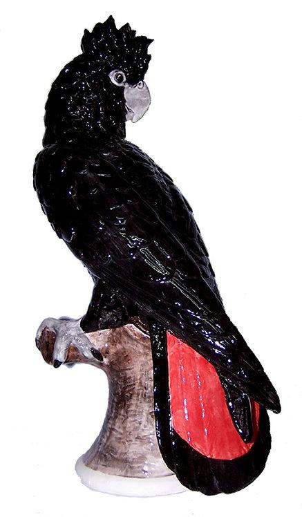 Handpainted Ceramic Australian Black Cockatoo