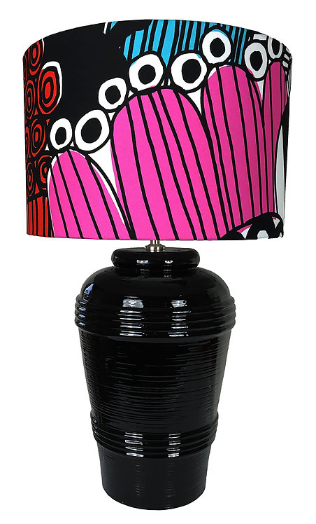 Black Ribbed Ceramic Lamp