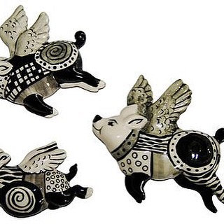 3 Black and White Flying Pigs