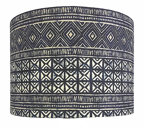 Indigo Mud Cloth Lampshade