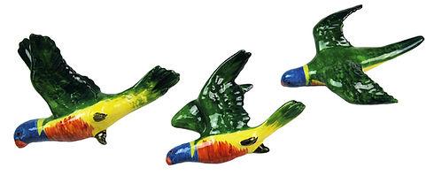 Trio Australian Ceramic Cockatoos and Parrots
