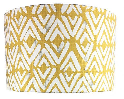 Yellow and white lampshade