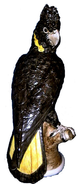 Yellow-Tailed Black Cockatoo Statue