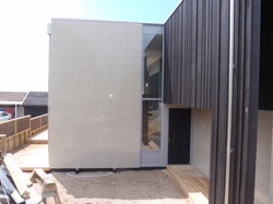 Tile and wood cladding