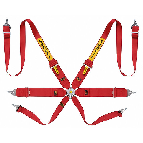 "Harness 6-point, 3/2"" Shoulder Strap, 3"" Lap Strap"