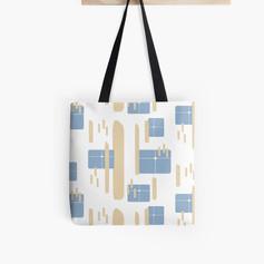 Blue & Tan Tote Bag