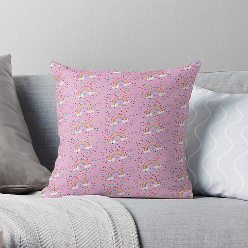 Rainbows on Pink - Cushion Cover
