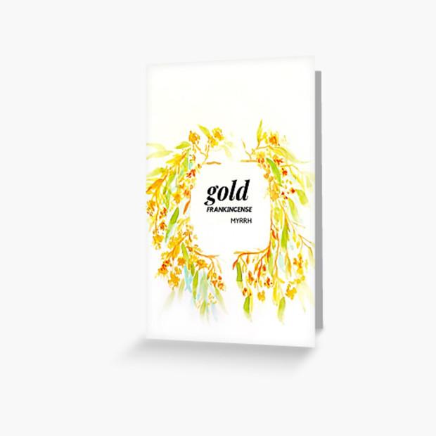 Christmas Card Gold, Frankincense, Myrrh