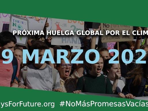 'NO MÁS PROMESAS VACÍAS', lema de la huelga global por el clima, el próximo 19 de marzo