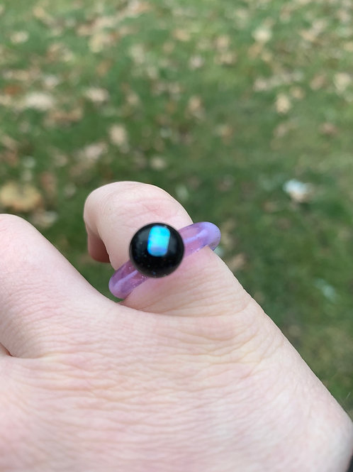 Glass Ring with Opal