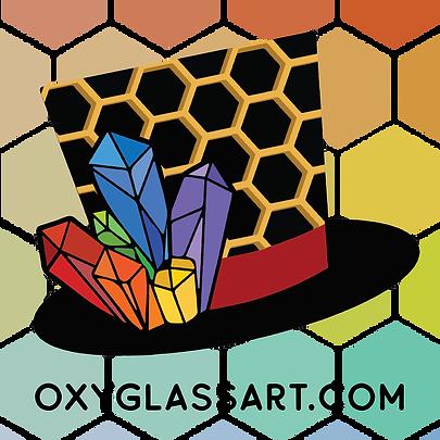 Oxyglass Honeycomb Sticker - Dark Backgr