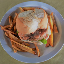 Delicious burger and chips