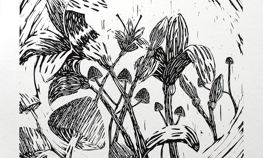 Mushrooms & Lilies 4 by Peri Law