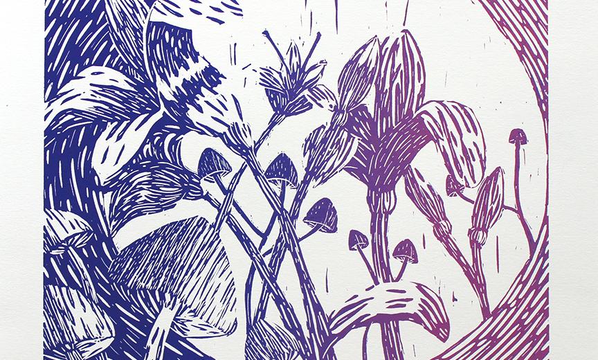 Mushrooms & Lilies Gradient by Peri Law