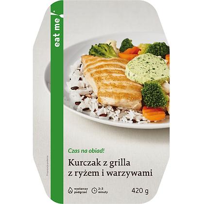 Kurczak z grilla z ryżem i warzywami