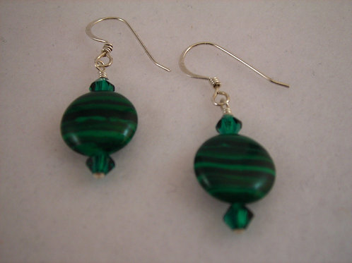 Malachite Gemstone Earrings  #E3789