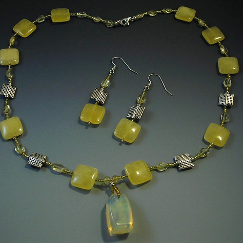 #S569.Ambronite Necklace and Earring Set