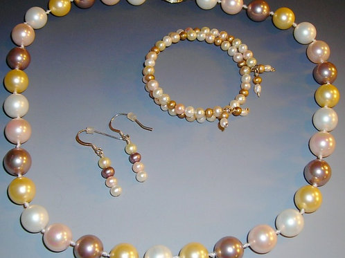 Seashell Pearl Necklace Bracelet and Earring Set