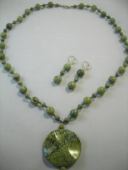 #S590. African Rhyolite Necklace and Earring Set