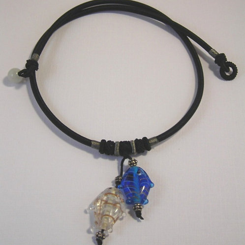Glass Fish Necklace Blue & Clear Fish