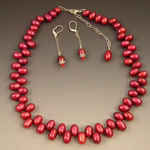 #S334 Pearl Necklace and Earring Set