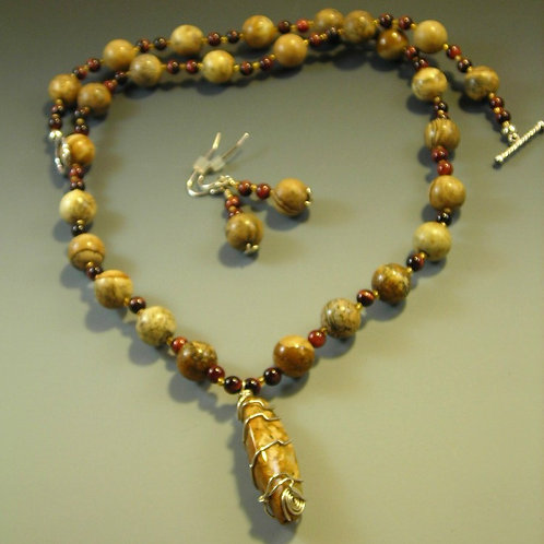 #S402. Jasper Necklace and Earring Set