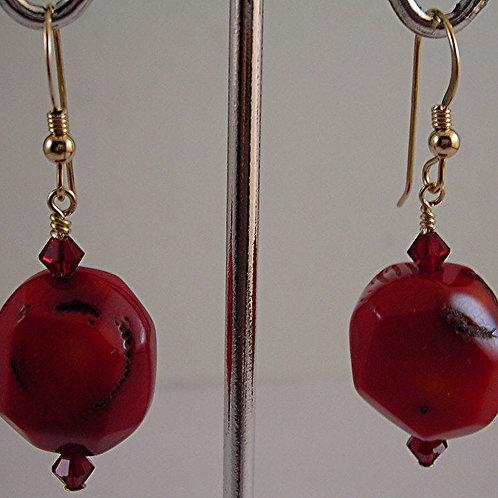 Coral Gemstone Earrings #E3713