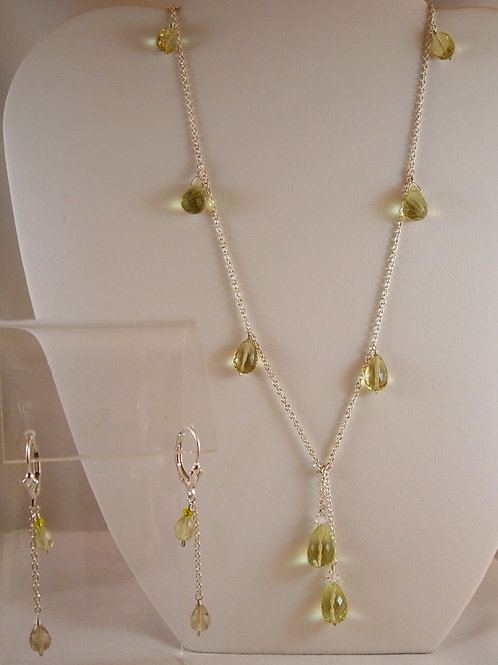 #S2112 Lemon Topaz Necklace and Earring Set
