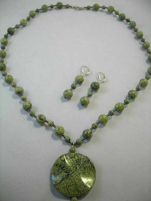 African Rhyolite Necklace and Earring Set