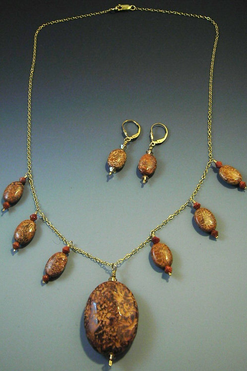 #S571 Star Jasper Necklace and Earring Set