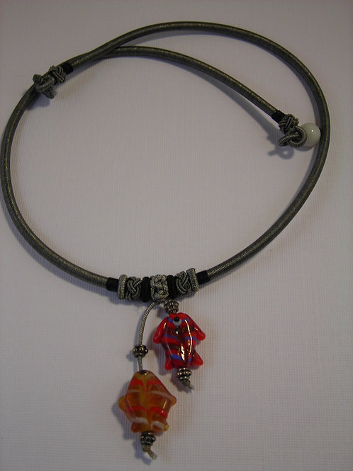 Glass Fish Necklace Red