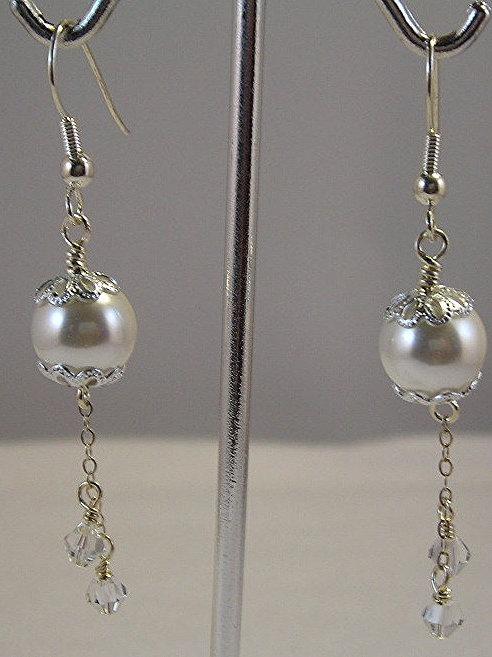 Seashell pearls Long Earrings:  #E3430