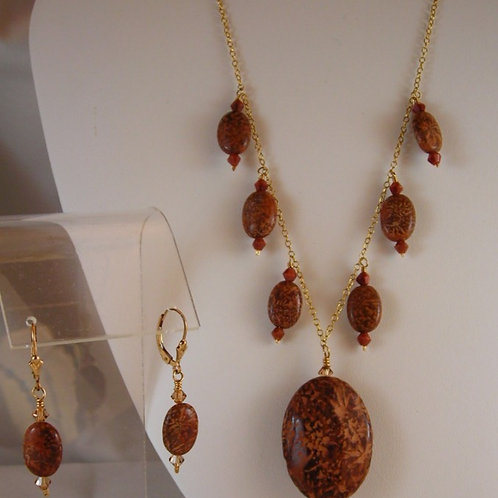 Star Jasper Necklace and Earring Set