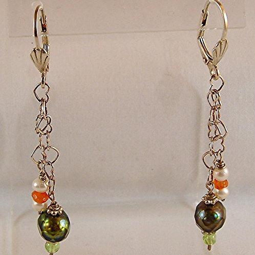 Freshwater pearls Long Earrings:   #E2189