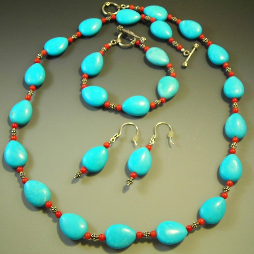 Turquoise Necklace Earring and Bracelet Set