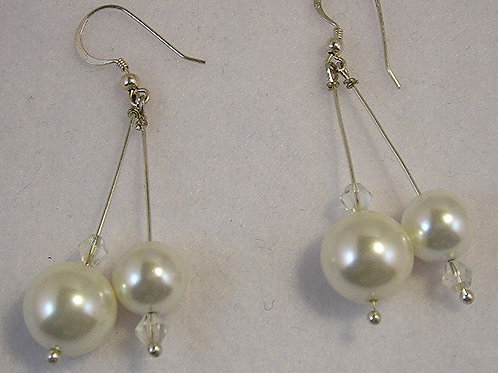 Seashell pearls Long Earrings:  #E3427