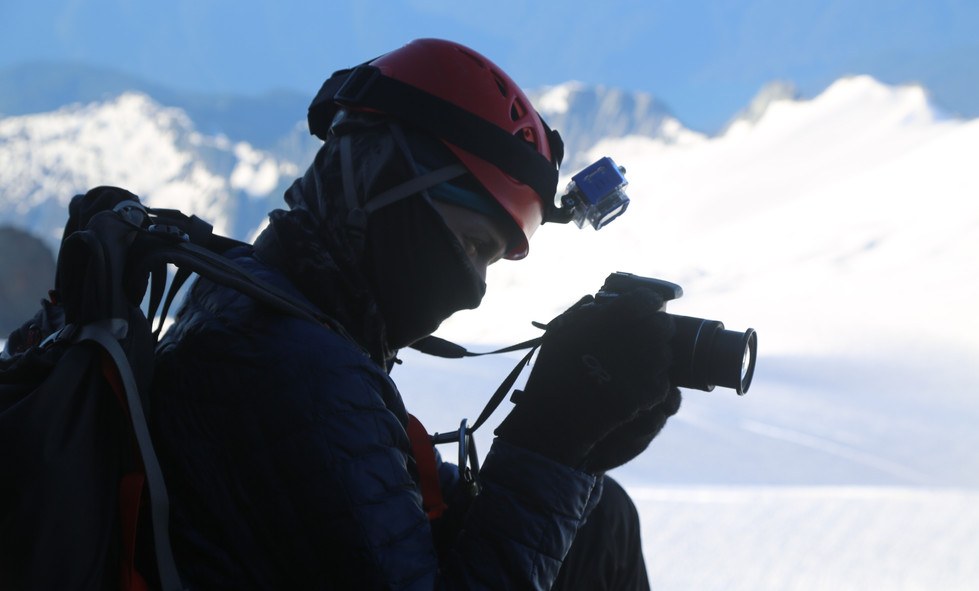 Taking pictures of something on Mt. Shuksan.