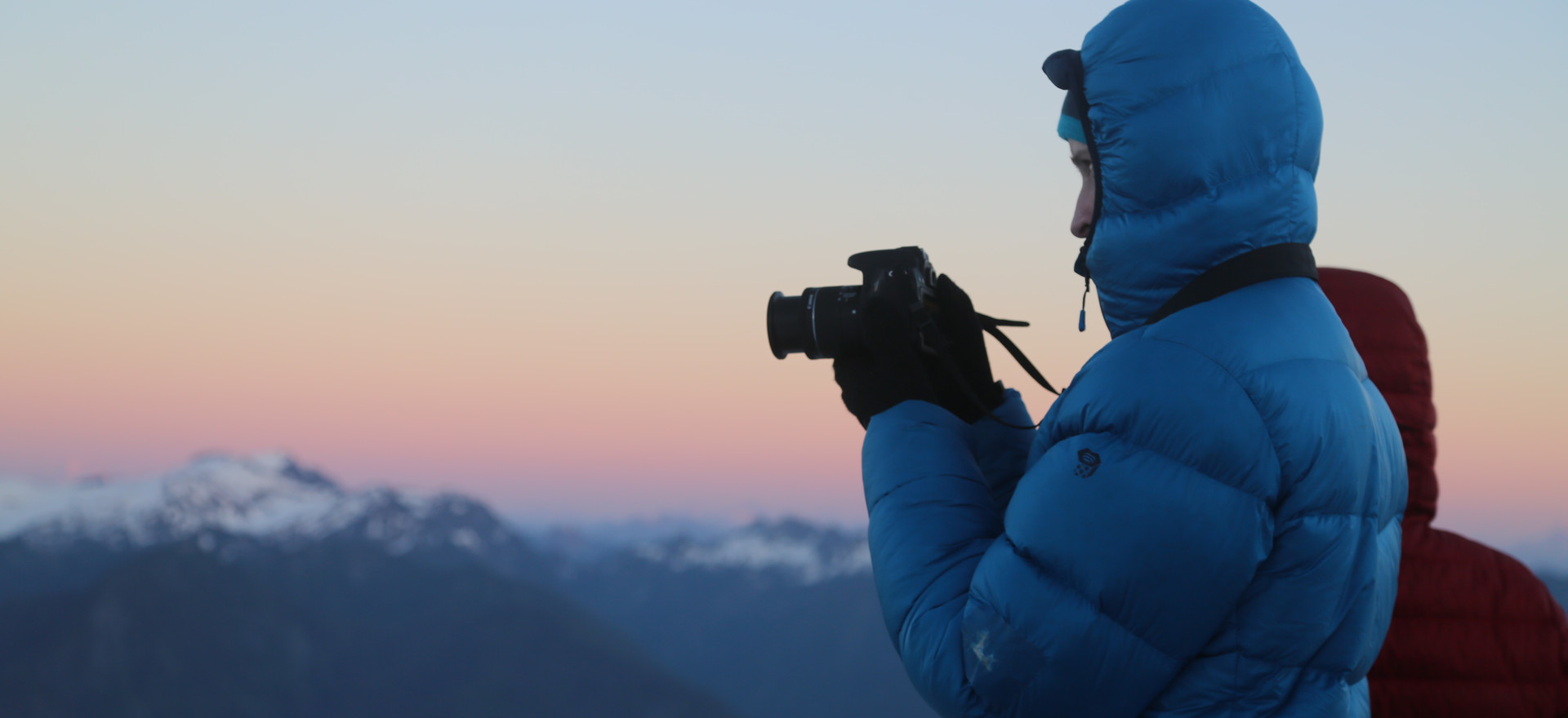 Filming the sunset on a climb of Mt. Shuksan.