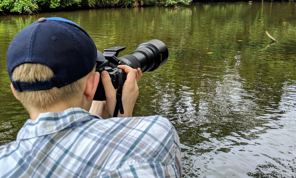 Taking pictures of a Tiger Heron in Costa Rica.