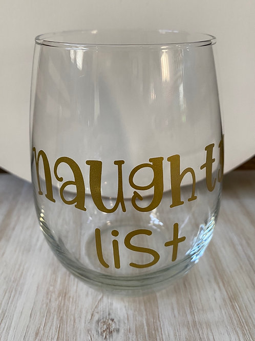 Naughty List Wine Glass