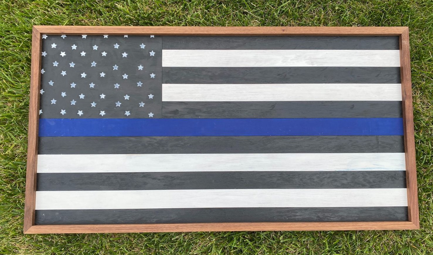 Thin Blue Line Wooden Flag