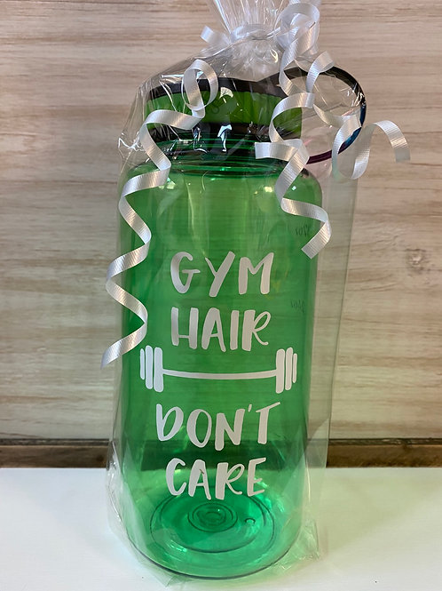 Gym Hair Don't Care Water Bottle (Green)